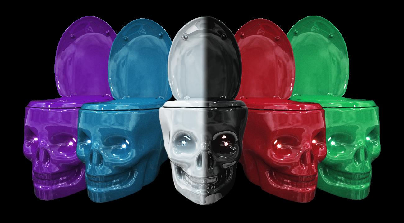 water throne couleurs wc tete de mort toilet skull