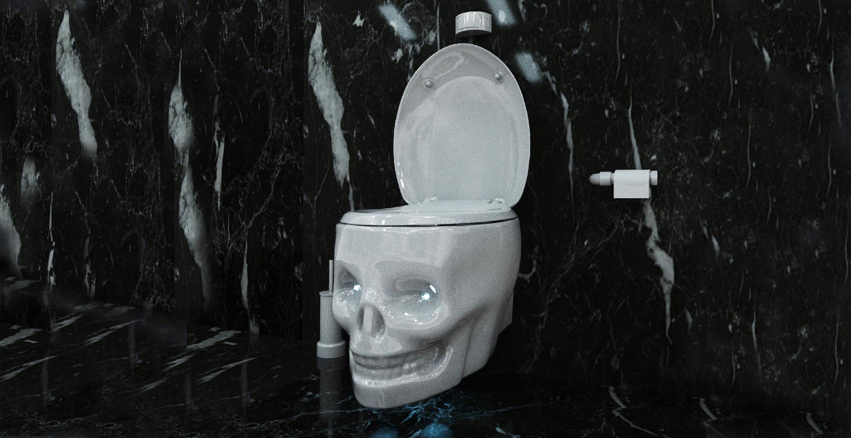 blanc water throne wc tete de mort toilet skull