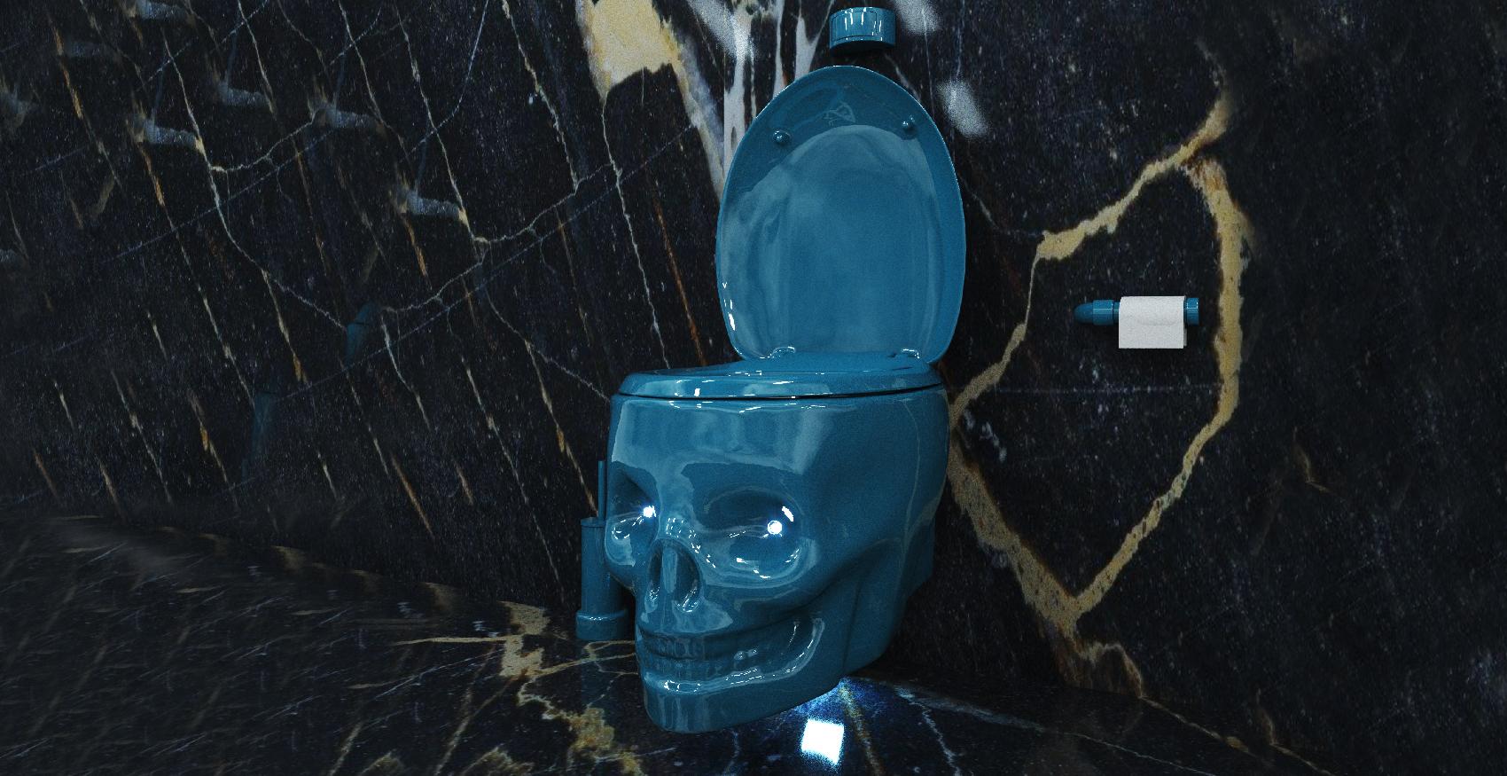 water throne bleu wc tete de mort toilet skull