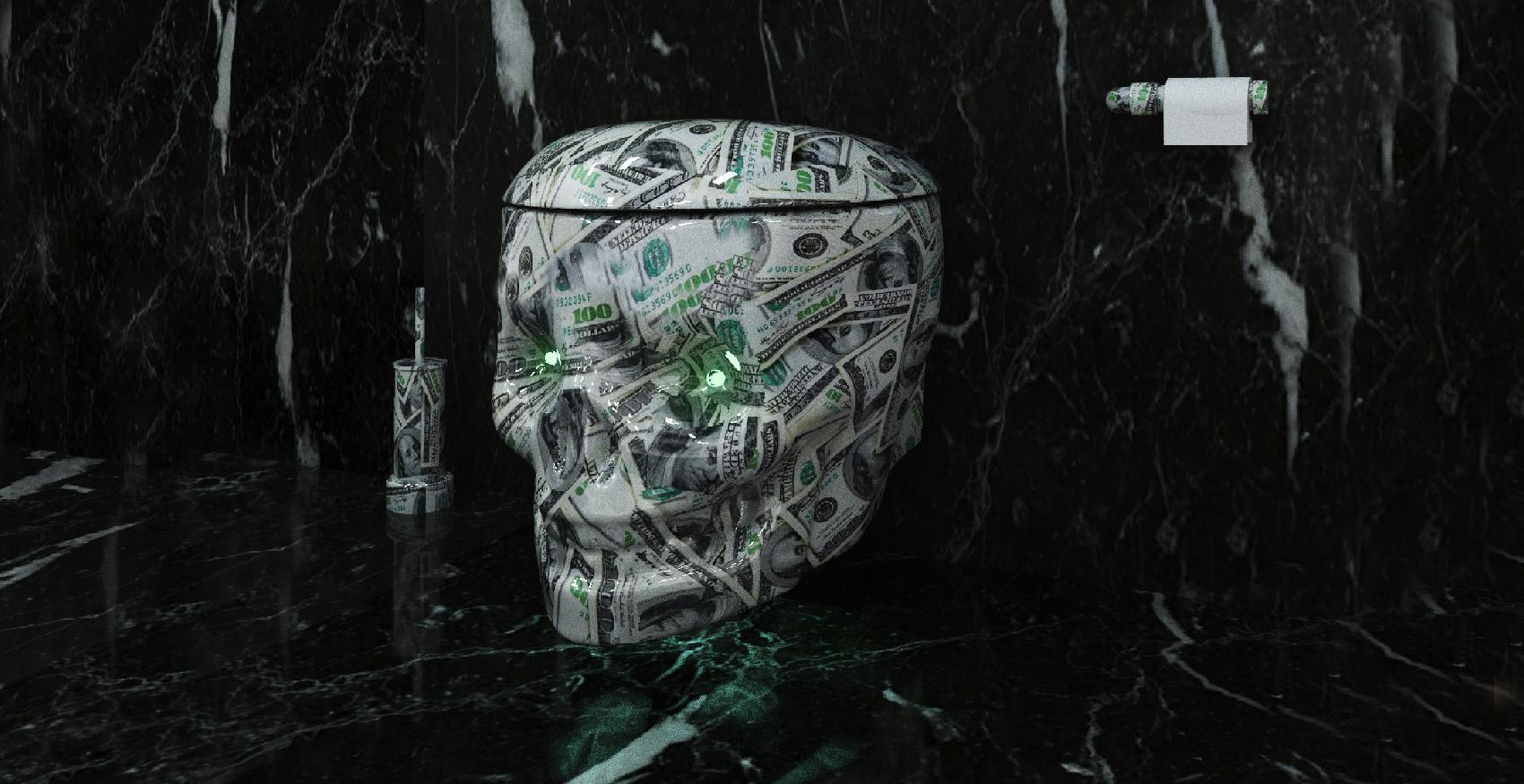 water throne dollar wc tete de mort toilet skull